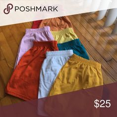 Soffee Shorts Soffee shorts Size XL. -- Red, Lt. Orange, Dr. Orange, Lt. Yellow, Dr. Yellow, White, Lt. Pink, Turquoise. Each $4, All for $25! Make an offer Soffe Shorts