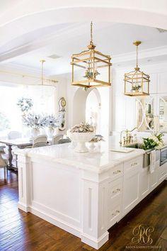 Modern Kitchen Interior Remodeling Christmas Home Tour 2017 - Silver and Gold Christmas in a white kitchen - Randi Garrett Design Küchen Design, Home Design, Design Ideas, Bar Designs, Design Styles, Design Projects, Design Trends, Home Decor Kitchen, Interior Design Kitchen