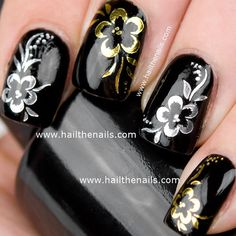 Gold or Silver Rose Flower Print Nail Art Water by Hailthenails, £1.99