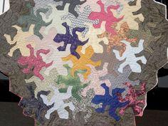 Quilt after Escher's lizards, by Esther Powell