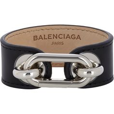 Balenciaga Leather Bracelet ($295) ❤ liked on Polyvore featuring jewelry, bracelets, accessories, balenciaga, colorless, clear crystal jewelry, polish jewelry, balenciaga jewelry and leather bangles