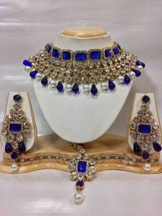 Crystal studed jewelry set in royal blue with pearls
