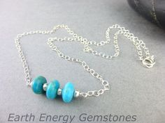 Kingman Turquoise Necklace, cleansed & energy activated by EarthEnergyGemstones on Etsy