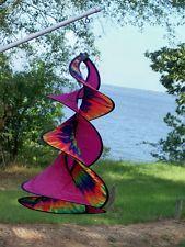 Wind Spinner Tie Dye Rainbow Pink Spin Duet Fabric Twister Windsock Garden
