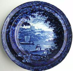 Clews Dark Blue Staffordshire Transferware Soup Plate SAILBOAT RIVERBANK CASTLE | eBay