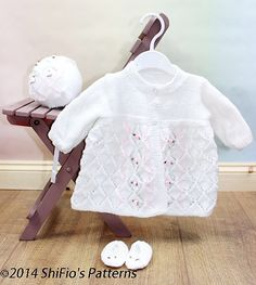 Lacy Diamonds Matinee Coat & Bonnet pattern by ShiFio's Patterns Bonnet Pattern, Free Pattern, Judys Magic Cast On, Small Rose, Stockinette, Doll Toys, Dolls, Double Knitting, Baby Knitting Patterns
