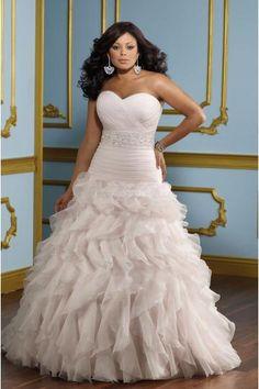 Plus size Hot Sale Ball Gown Organza Bridal Wedding Dresses