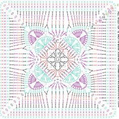 Crochet Mandala Pattern, Crochet Square Patterns, Granny Square Crochet Pattern, Crochet Diagram, Crochet Chart, Crochet Granny, Motifs Granny Square, Crochet Squares Afghan, Crochet Blocks