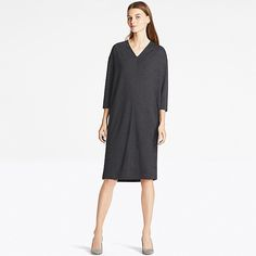 WOMEN LIGHTWEIGHT PONTE 3/4 SLEEVE DRESS