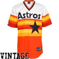 Houston Astro jersey : Majestic Houston Astros Cooperstown Throwback Replica Jersey - White-Orange