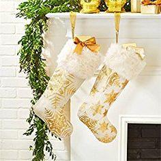 Snowflake Gold Foil Christmas Stockings with White Vegan Fur Collar - Set of 2