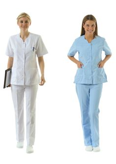 NU-05 NURSE UNIFORM • Top & Pant • Alpaca fabric, %65/35 poly/viscose • Chanelled collar • One chest and two patch pockets • Short or long sleeve options • With press stud or button • Wrinkle resistant • No yellowing • Color: White • Optional pastel colors • Sizes(US): XS – S -M - L - XL -2XL -3XL • Sizes(EU): 36 -38 -40 -42 -44 -46 -48