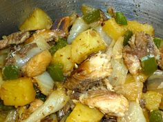 "Mock smoorsnoek is a braised mock snoek dish containing onion, potato, smoked herring and chili. Cape snoek (Thyrsites atun) is an oily fish with a distinctive flavor, native to South African waters. Recipe in ""South African Cooking in the USA"", page 53."