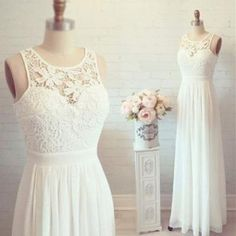 Simple A Line White Lace Chiffon Wedding Dress,Custom Made Beach Wedding Dresses, Outside Bridal Wedding Gown, Formal Women Prom Dress