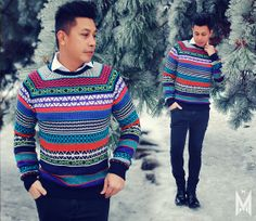 menswear, mensstyle, mensfashion, colors, winter, H&M Patterned Knitted Sweater, H&M Skinny Pants, Zara High Shine Boots