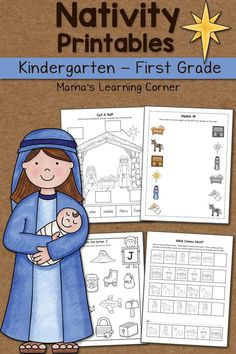 Download a Nativity Worksheet packet for your Kindergartner or First Grader! Includes math and phonics activities. 4 freebies included!