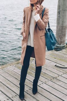 Chic fall style, Jess Kirby wears black skinny jeans with ankle boots and a camel wool coat