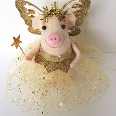 Christmas tree topper. An alternative for your tree this handmade fairy pig in gold. @themerrymice