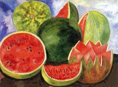 Watermelon....Frida Kahlo.  Many believe this was painted in 1954 and was her last painting before her death.  Many believe she painted this in 1952 when her health was much better.
