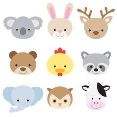 Vector illustration of animal faces including koala, rabbit, deer,. Owl Cartoon, Cute Cartoon Animals, Cartoon Faces, Cute Animals, Cow Vector, Vector Stock, Vector Vector, Animal Faces, Farm Animals