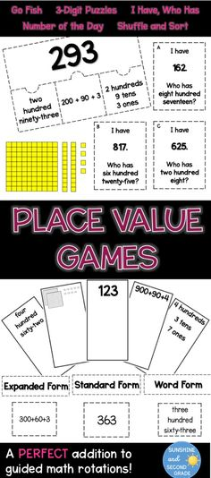 Place Value Bundle 3-digit numbers expanded form-word form-standard form