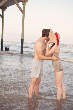 kiss, end of summer, engagement photos, vintage photos, weight loss, engagement photography, beach styles, photo shoots, hat