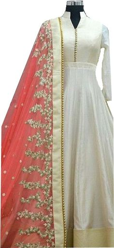 Indian Price :Rs.849 Highlights Ideal For: Women Fabric: Banglori Silk, Net Color: White, Pink Pattern: Embroidered Type: Anarkali Description We are glad to Introduce our Beautiful and Elegance Floor Length semi-stitched Anarkali Salwar Suit Gown, which can be stitched into your size as Anarkali Full Length Salwar-Suit.