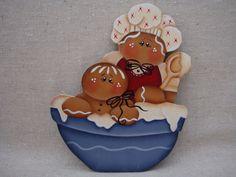 Gingerbread Fridge Magnet  Gingerbread and Baby making frosting Designed by: Renee Mullins eBay: CherishedAtticTreasures Facebook: Cherished Attic Treasures Etsy: By Brenda's Hand
