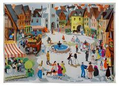 French Vintage Village Poster