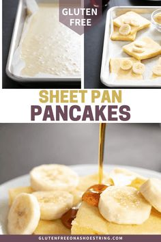 These gluten free pancakes made in a sheet pan are the easiest way to make pancakes for a crowd in minutes. Gluten Free Recipes For Breakfast, Gluten Free Pancakes, Pancakes Easy, Gluten Free Breakfasts, Gluten Free Cooking, Gf Recipes, Spinach Recipes, Gluten Free Chicken, Foods With Gluten