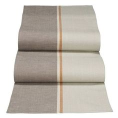 Linen table runner with taupe, grey, and terracotta - possible DIY? (find colored linen or fabric paint stripe on one-colored linen) Dining Room Table Runner, Table Runners, Stair Runners, Hall Flooring, Entry Stairs, Paint Stripes, Wow Products, Interior And Exterior, Interior Ideas
