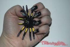 Halloween nails, silver holo cobweb