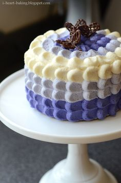 purple ombre petal cake with chocolate butterflies for mother's day - purple ombre petal cake with chocolate butterflies for mother's day - lemon cake with blueberry whipped cream filling