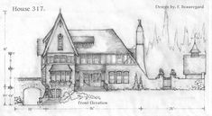 front elevation of house SKETCH | Front elevation done, plan coming...See Tudor Style house in gallery ...