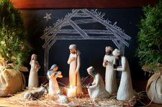 Nativity with chalkboard background