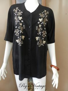 Vintage Black Blouse//Top//Shirt  With by PegsVintageJewellery