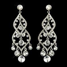 "Silver Clear Rhinestone Bridal Chandelier Earrings 22564 - $14 (3.5"") (OOS!)"