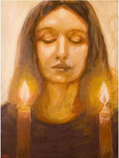 Shabbat Peace  By Devorah Weinberg    Artist's Statement: This painting is a self portrait yet meant to capture a universal experience. In the painting the light is coming from within the subject rather than surrounding her. This painting is a tribute to the Jewish woman.