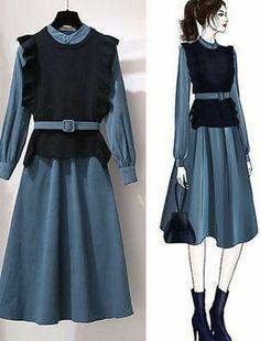 Fashion Drawing Dresses, Fashion Illustration Dresses, Fashion Dresses, Korean Girl Fashion, Muslim Fashion, Cute Fashion, Moda Outfits, Dress Outfits, Girl Outfits