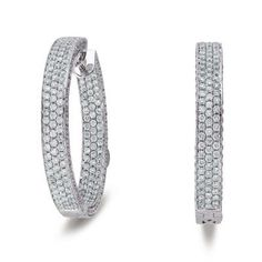14k White Gold 3.55 Dwt Diamond 30mm Hoop Earrings – JewelryWeb | Your #1 Source for Jewelry and Accessories