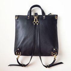 Cuero negro mochila mochila Convertible trabajo profesional
