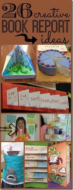 26 creative book report ideas - so many really unique and FUN book report projects for kids of all ages Kindergarten, 1st grade, 2nd grade, 3rd grade, 4th grade, and 5th grade. (homeschool writing)