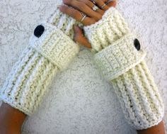Snow white thick long ribbed with wrist strap by ValkinThreads, $26.00