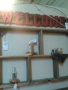 Barn wood and barbed wire welcome sign  SOLD but making more! $ 16.00