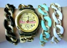 Chunky Textured Gold Chain and Color Arm Candy Bracelet