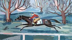 The Race racing in winter art print by JohnNebraskaStudio on Etsy