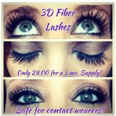 Amazing lashes!!! Magic mascara!! And it really IS safe for contacts - I know - I wear contacts, & have never had one problem with them!!!