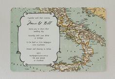 Add Botanical elements. :) World Map wedding invitation