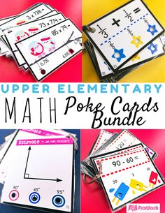 Math Upper Elementary Poke Cards - Poke cards are simple, engaging, and self-checking! This bundle is a collection of the poke cards I have created for my 4th graders based on common core standards. A few skills included are on a fifth grade level. Many skills would be great for your high-reaching 3rd graders. $