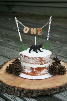 This rustic cake at this Lumberjack 1st birthday is adorable. Make sure you check out the party!! See more party ideas and share yours at CatchMyParty.com